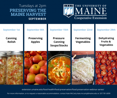 Tuesdays at 2 PM Preserving the Maine Harvest September UMaine Extension Logo, September 1st Canning Relish, September 8 Preserving Apples, September 15th Pressure Canning Soups/Stocks, September 22nd Fermenting Vegetables, September 29th Dehydrating Fruits and Vegetables. To request a reasonable accommodation, contact Kate McCarty kate.mccarty@maine.edu or 207.781.6099