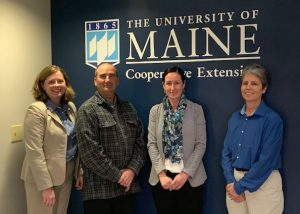 Left to right: Dr. Hannah Carter, Dean of UMaine Extension; Dr. Richard Brzozowski, Food System Program Administrator, UMaine Extension; Commissioner Amanda Beal, Department of Agriculture, Conservation and Forestry; Dr. Lisa Phelps, Program Administrator, UMaine Extension, in the UMaine Extension Diagnostic and Research Lab..