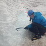 Kit Hamley counting ice layers in Antarctica