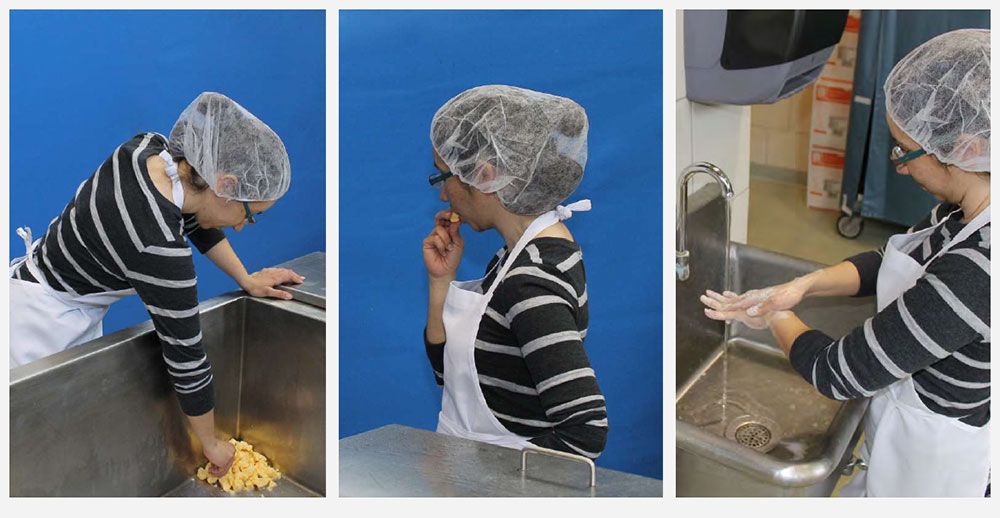 1. cheesemaker reaching into vat for peice of cheese; 2. cheesemaker eating cheese; 3. cheesemaker washing hands