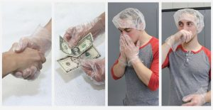 1. cheesemaker shaking hands wearing glove; 2. cheesemaker handling money while wearing gloves; 3. cheesemaker sneezing into his gloved hands; 4. cheesemaker wiping his nose with gloved hand