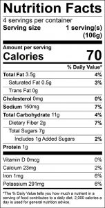 Beet Salad with Mustard Dressing Food Nutrition Facts Label: Click on this image for complete nutrition information