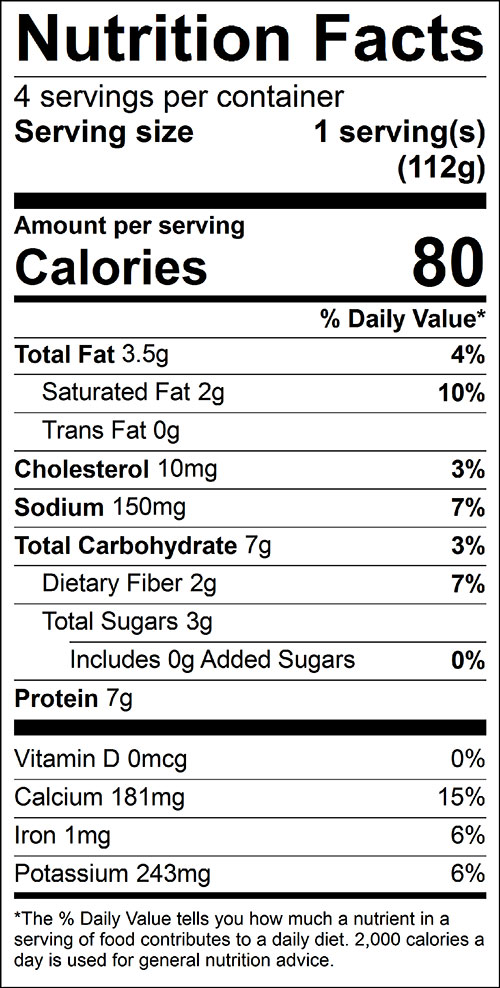 Broccoli Casserole, Easy Food Nutrition Facts Label