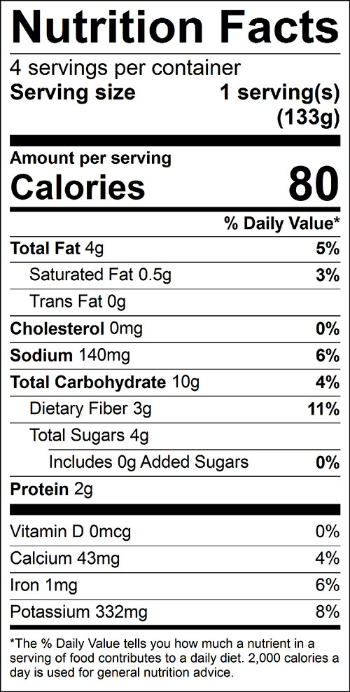 Broccoli and Carrot Stir Fry Food Nutrition Facts Label