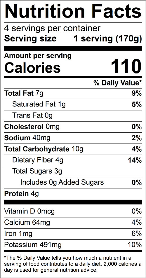 Broccoli and Squash, Steamed Food Nutrition Facts Label