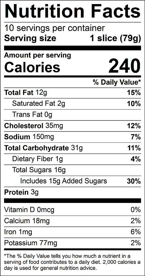 Carrot Bread Food Nutrition Facts Label