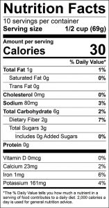 Carrot Fries Baked with Cumin Food Nutrition Facts Label: Click on this image for complete nutrition information
