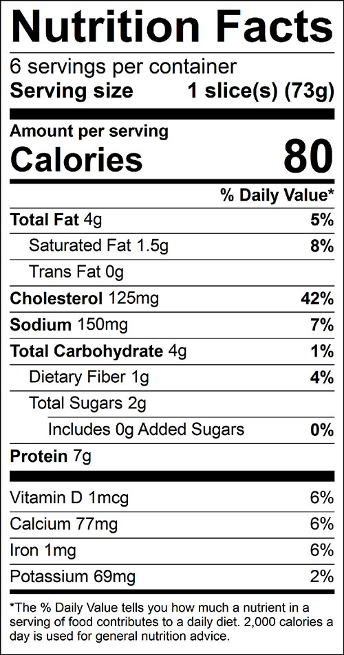 Carrot Pie Food Nutrition Facts Label