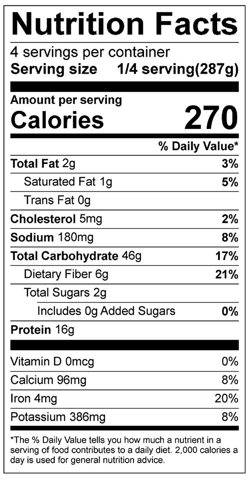 Cheesy Lentil and Rice Casserole Food Nutrition Facts Label