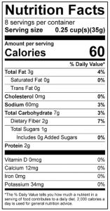 Chickpea Hummus Food Nutrition Facts Label: Click on this image for complete nutrition information