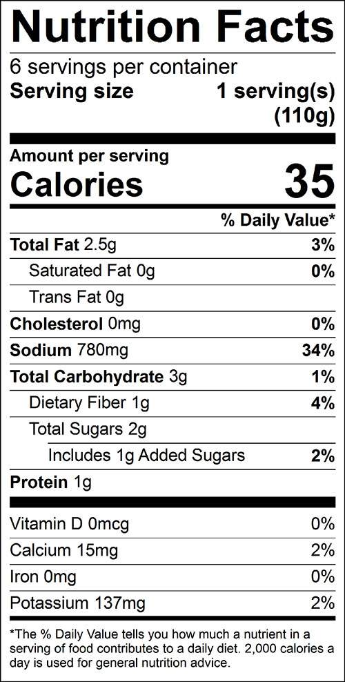 Cukes for Kids Food Nutrition Facts Label