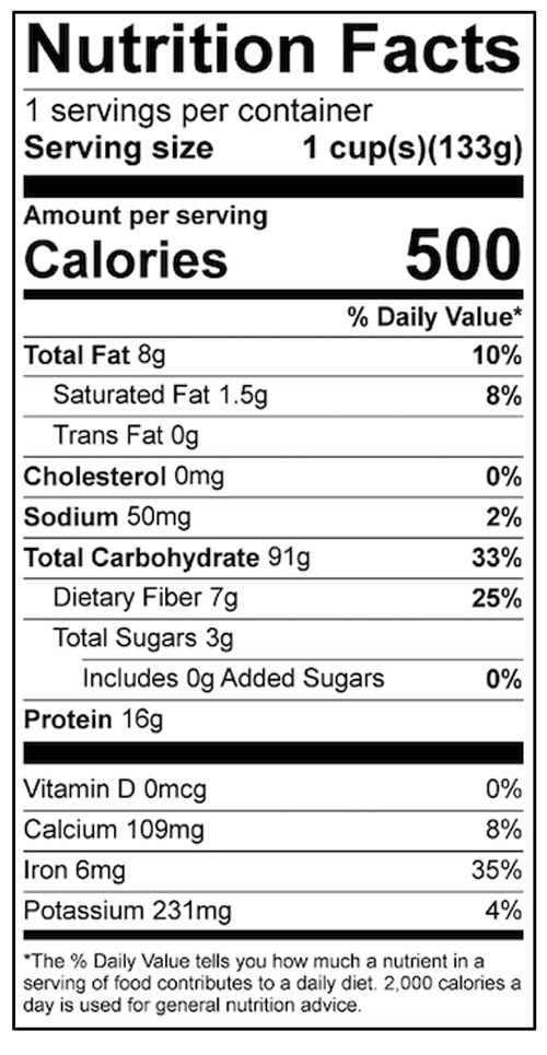 Gluten-Free Flour Mix Food Nutrition Facts Label: Click on this image for complete nutrition information