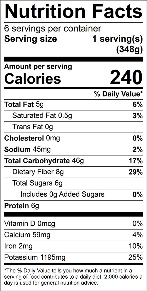 Green Bean Salad Food Nutrition Facts Label