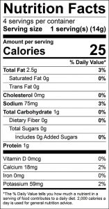Kale Chips Food Nutrition Facts Label: Click on this image for complete nutrition information