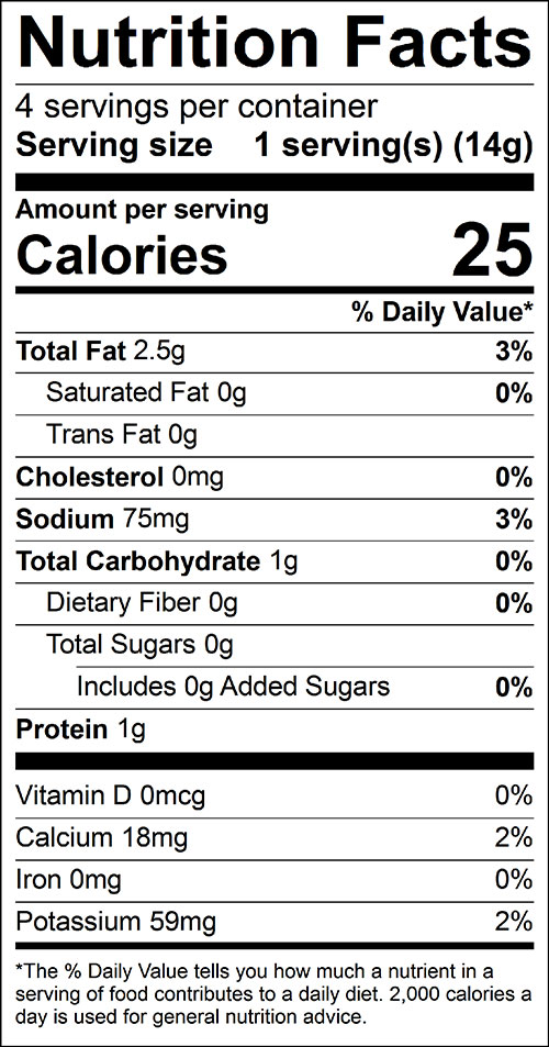 Kale Chips Food Nutrition Facts Label