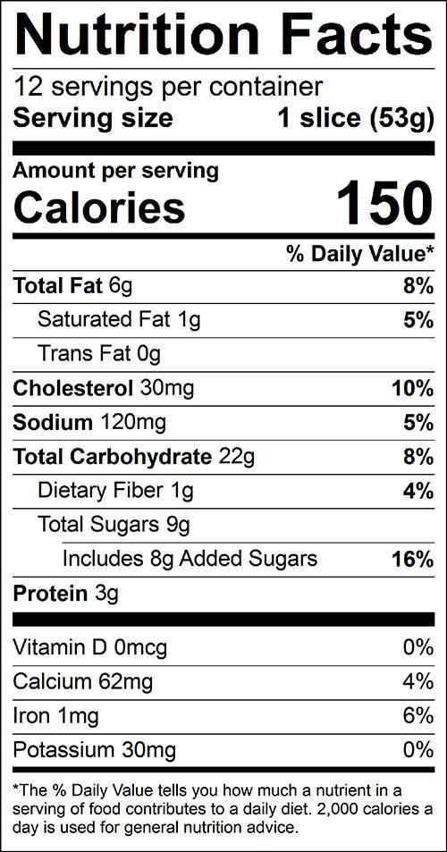 Pumpkin or Squash Bread Food Nutrition Facts Label