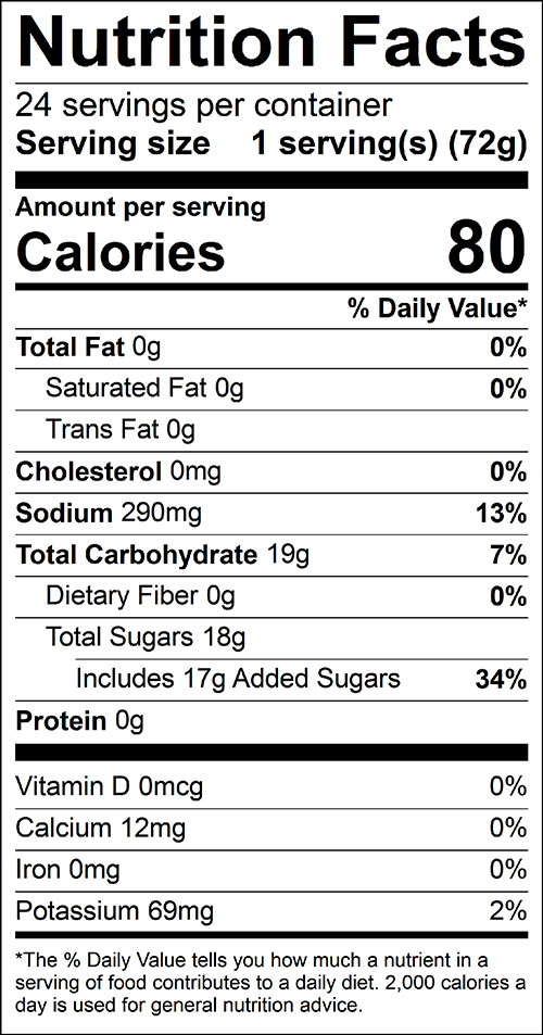 Quick Pickles Food Nutrition Facts Label