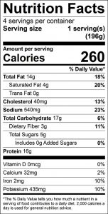 Red Flannel Hash Food Nutrition Facts Label: Click on this image for complete nutrition information
