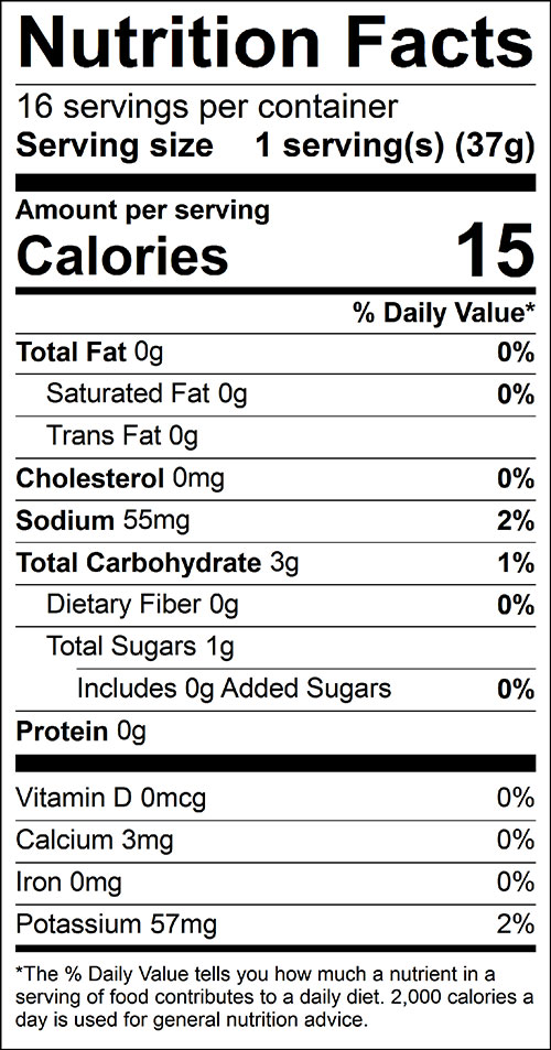 Salsa Food Nutrition Facts Label