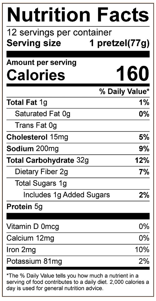 Soft Pretzels Food Nutrition Facts Label: Click on this image for complete nutrition information