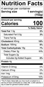 Spinach Potato Pancakes Food Nutrition Facts Label: Click on this image for complete nutrition information