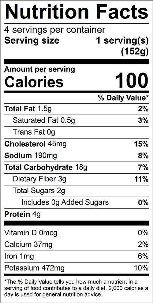 Spinach Potato Pancakes Food Nutrition Facts Label