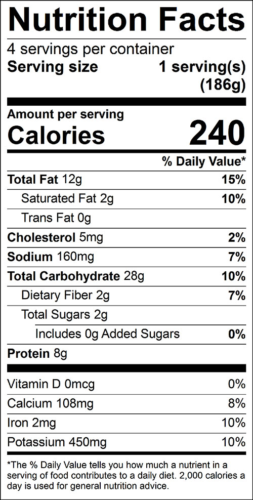 Squash, Stuffed Food Nutrition Facts Label