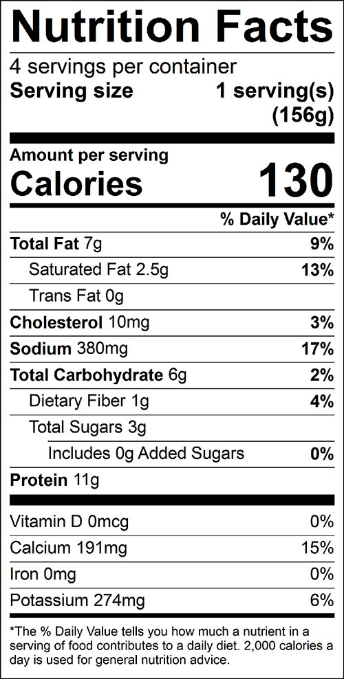 Tomato Rabbit Food Nutrition Facts Label
