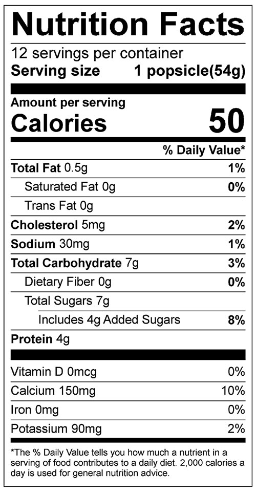 Yogurt Popsicles Food Nutrition Facts Label: Click on this image for complete information