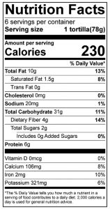 100% Whole Grain Tortilla Food Nutrition Facts Label: Click on this image for complete nutrition information
