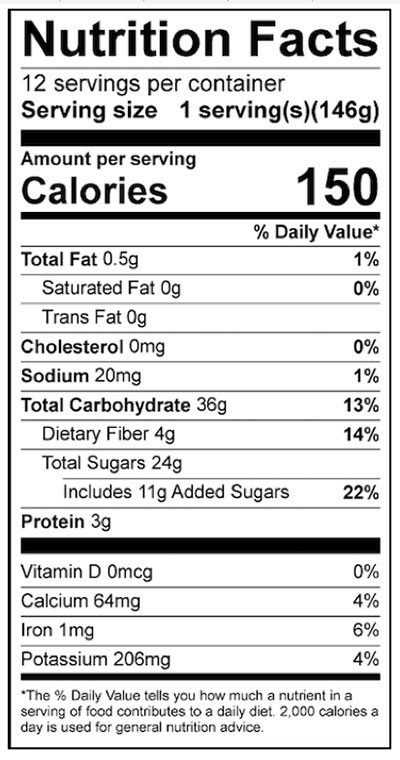 Baked Apple Crisp Food Nutrition Facts Label: Click on this image for complete nutrition information