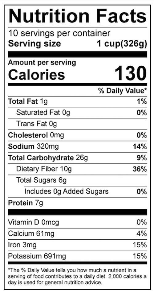 Bean and Squash Chili Food Nutrition Facts Label: Click on this image for complete nutrition information