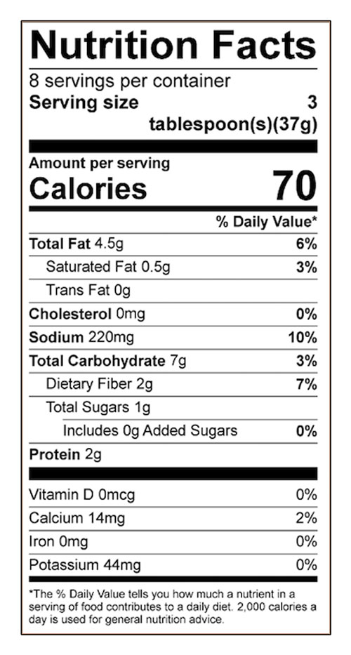 Bean or Chickpea Dip Food Nutrition Facts Label: Click on this image for complete nutrition information