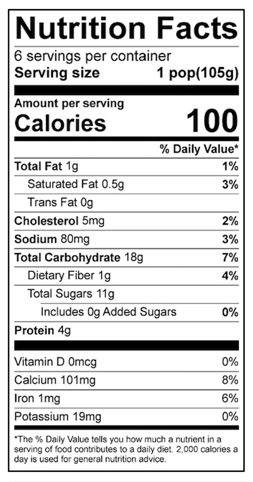 Confetti Yogurt Pops Food Nutrition Facts Label: Click on this image for complete nutrition information