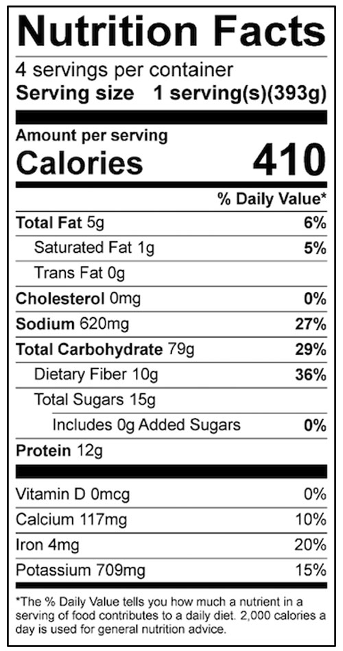 Cowboy Beans and Rice Food Nutrition Facts Label: Click on this image for complete nutrition information