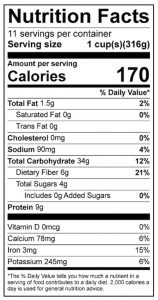 Curried Lentil Squash Food Nutrition Facts Label: Click on this image for complete nutrition information