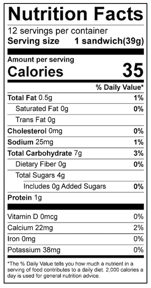 Frozen Strawberry Sandwiches Food Nutrition Facts Label: Click on this image for complete nutrition information