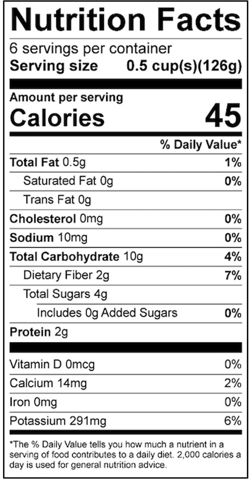 Homemade Salsa Food Nutrition Facts Label: Click on this image for complete nutrition information