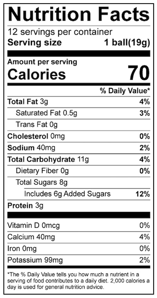 Peanut Butter Balls Food Nutrition Facts Label: Click on this image for complete nutrition information