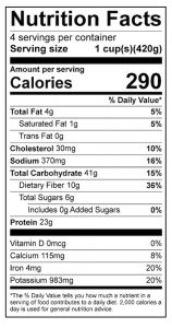 Savory Bean Stew Food Nutrition Facts Label: Click on this image for complete nutrition information