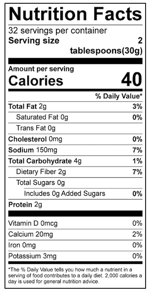 White Bean Hummus Food Nutrition Facts Label: Click on this image for complete nutrition information