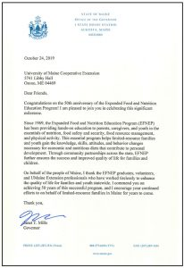 Letter of Congratulations from the Office of the Governor