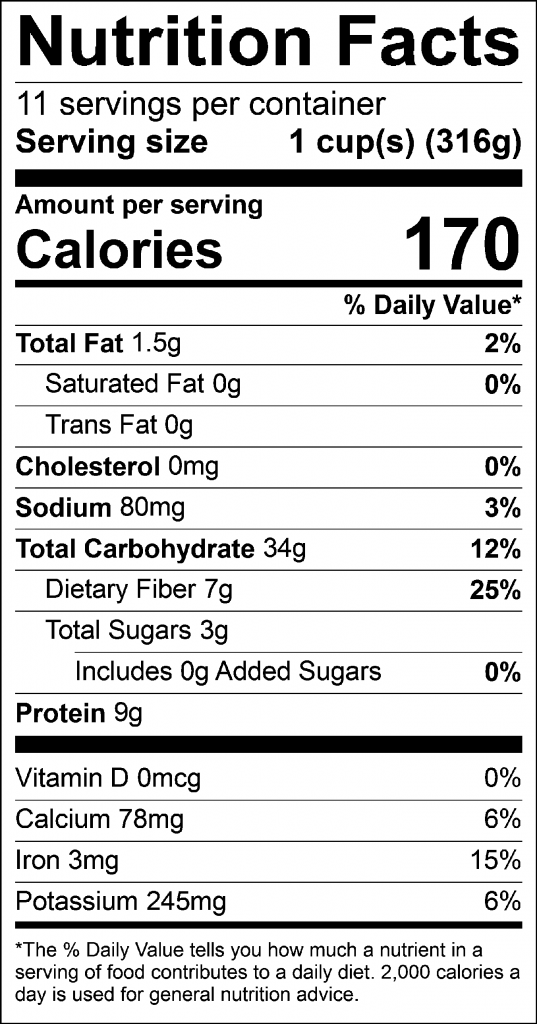 Curried Lentil Squash Soup Nutrition Fact Label: Click on this image for complete nutrition information.