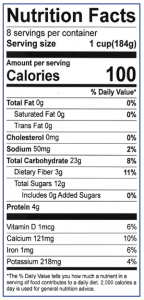 Berry and Spinach Smoothie Nutrition Facts Label: Click on this image for complete nutrition information.