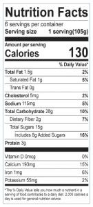 Wild Maine Blueberry Cobbler Nutrition Facts label: Click on this image for complete nutrition information.