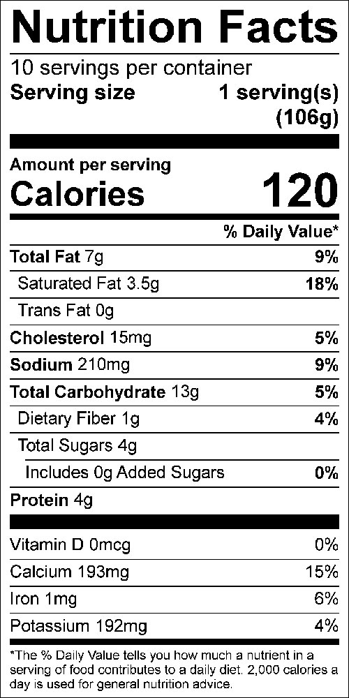 Tomato Crouton Casserole Food Nutrition Facts Label: Click on this image for complete nutrition information.