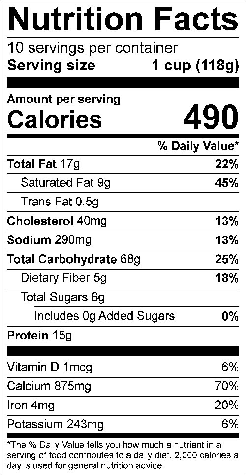 Rolled Oats Convenience Mix Nutrition Label: Click on this image for complete nutrition information.