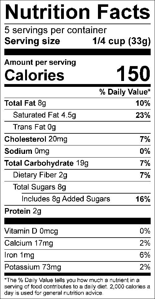 Three Ingredient Granola Food Nutrition Facts Label; Click on this image for complete nutrition information