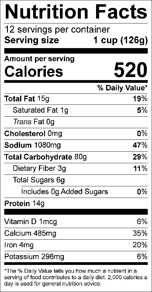 12-Cup Yield Convenience Mix Nutrition Facts Label; click on the image for complete details