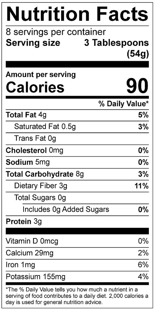 Make Your Own Bean Dip Food Nutrition Facts Label; Click on this image for complete nutrition information